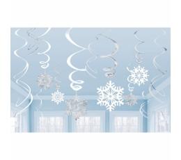 """Riputatavad dekoratsioonid """"Hõbedased lumehelbed"""" (12 tk)"""