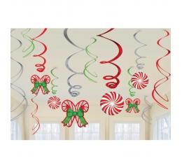 """Riputatavad kaunistused """"Jõulukommid"""" (12 tk)"""