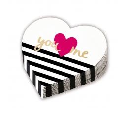 """Salvrätikud - südamekujulised """" You & Me"""" (12 tk)"""