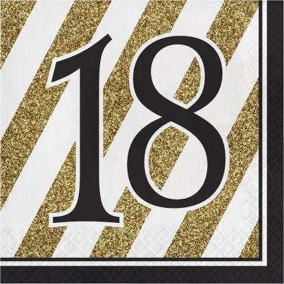 """Salvrätikud """"18"""", kuldne-must (16 tk)"""