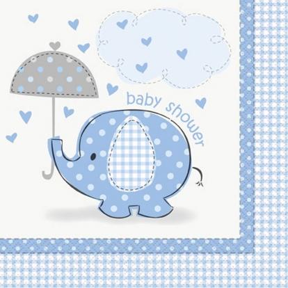 """Salvrätikud """"Baby Shower elevant"""", helesinised (16 tk.)"""