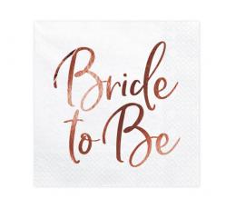 """Salvrätikud """"Bride to be"""", valged-roosakas kuldsed (20 tk.)"""
