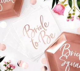 """Salvrätikud """"Bride to be"""", valged-roosakas kuldsed (20 tk.) 2"""