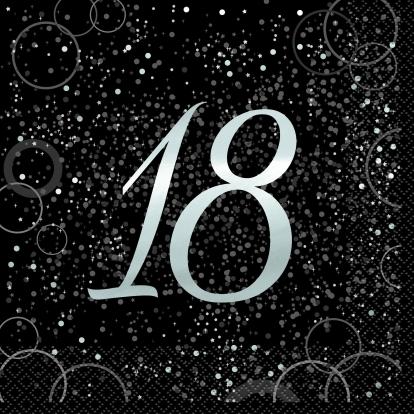 """Salvrätikud """"Happy 18th Birthday"""", läikiv must (16 vnt.)"""