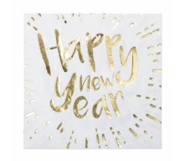 "Salvrätikud ""Happy New Year"", valge-kuldne (12 vnt.)"