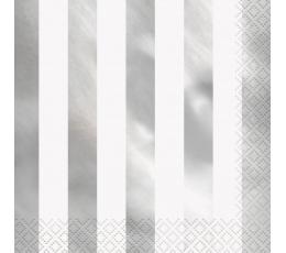 """Salvrätikud """"Hõbedaselt läikivad"""" triibulised (16 tk)"""