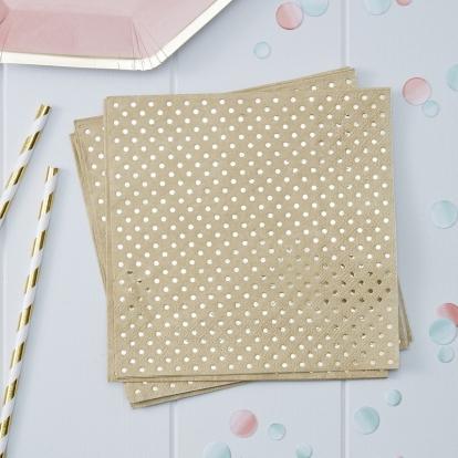 Salvrätikud, kraft värvi kuldsete täppidega (20tk)