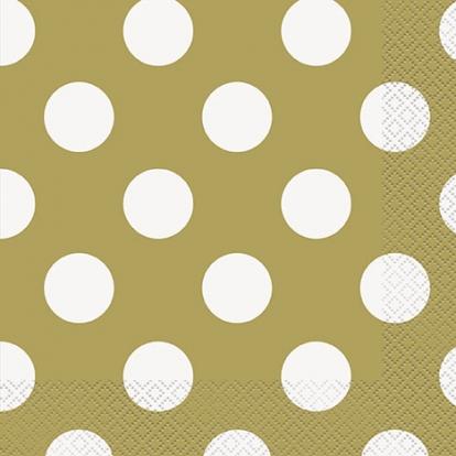 Salvrätikud, kuldsed täpilised (16 tk / 33x33 cm)