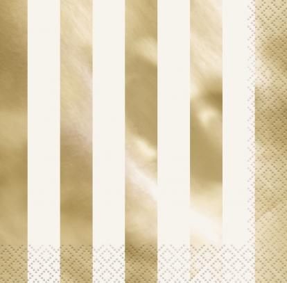 """Salvrätikud """"Läikiv kuld"""", triibulised (16 tk.)"""