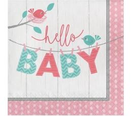 """Salvrätikud """"Linnud. Hello baby"""", roosad (16 tk)"""