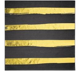 Salvrätikud, must-kuldse triibulised  (16 tk)