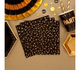 Salvrätikud, mustad kuldsete tähtedega  (16 tk)
