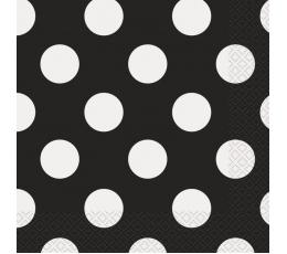 Salvrätikud, mustad täpilised (16 tk / 33x33 cm)