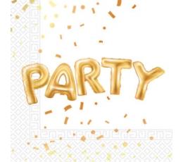 """Salvrätikud """"Party"""", valged kuldsega  (20 tk.)"""