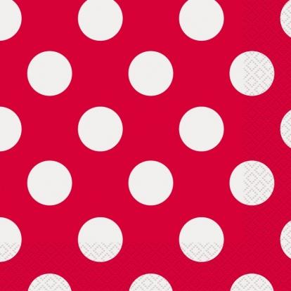 Salvrätikud, punased täpilised (16 tk / 33x33 cm)