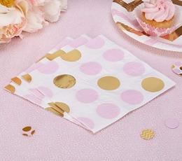 Salvrätikud, roosa kuldsete täppidega (16 tk) 1