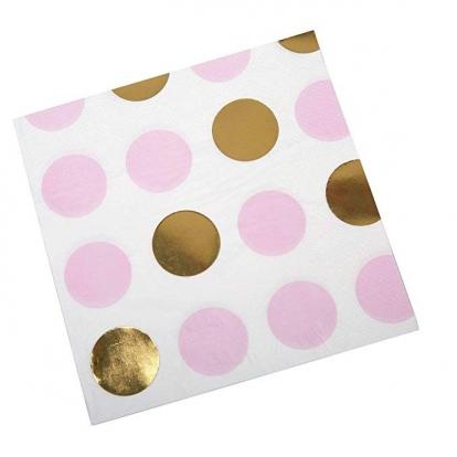 Salvrätikud, roosa kuldsete täppidega (16 tk)