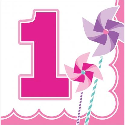 """Salvrätikud """"Roosad tuuleveskid. 1. sünnipäev"""" (16 tk)"""