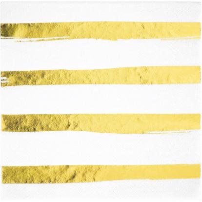 Salvrätikud valge kuldse triibulised (16 tk)