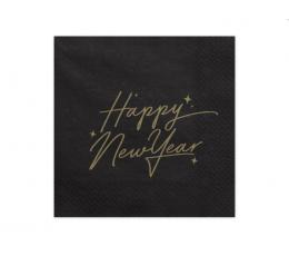 """Salvrätikud. """"Head uut aastat"""", mustad kuldse kirjaga (20 tk)"""