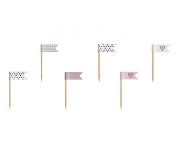 Suupistetikud- lipud, punakasmustad (6 tk.)