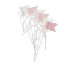 Suupistetikud-lipud paeltega, roosast riidest (6 tk./20 cm) 1