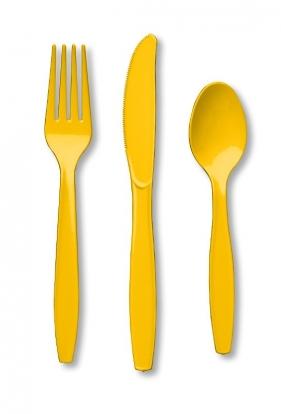 Söögiriistade komplekt kollane (8 inimesele)