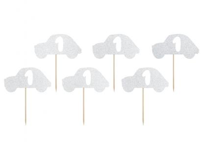 """Suupistetikud 1. sünnipäevaks """"Hõbedased autod"""" (6 tk)"""