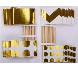 Suupistetikud-dekoratsioonid,valge kuldne (20 tk)