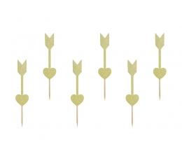 """Suupistetikud-kaunistused """"Kuldne süda"""" (6 tk)"""