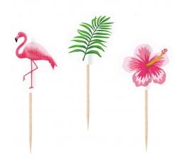 """Suupistetikud-kaunistused """"Roosad flamingod"""" (10 tk)"""