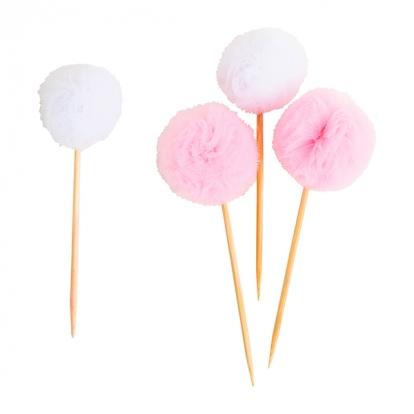 """Suupistetikud-kaunistused """"Tülli pallid"""", roosakasvalged (8 tk)"""