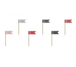Suupistetikud-lipud, punasemustad (6 tk.)