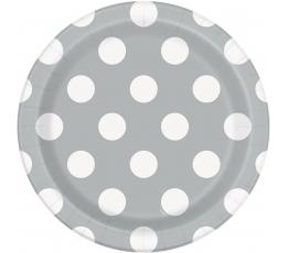 Taldrikud, hallid täppidega (8 vnt./18 cm)