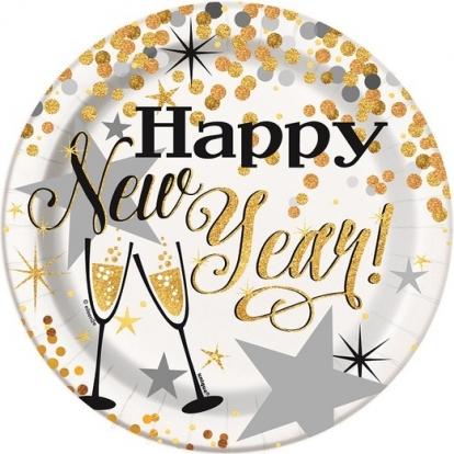"Taldrikud ""Happy New Year"" (8 tk./18 cm)"