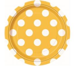 Taldrikud, kollane täpiline (8 tk / 18 cm