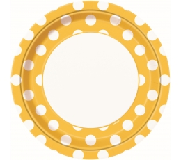 Taldrikud, kollane täppidega  (8 tk / 23 cm)