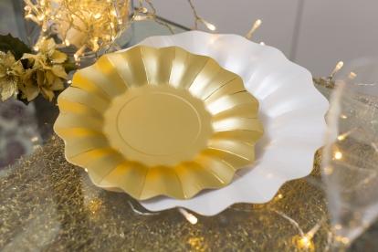 Taldrikud kuldsed lilled (8 tk / 21 cm)