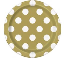 Taldrikud, kuldsed-täpilised (8 tk / 18 cm)