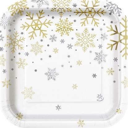 """Taldrikud """"Läikivad lumehelbed"""", ruudukujulised (8 tk./17 cm)"""