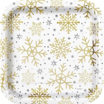 """Taldrikud """"Läikivad lumehelbed"""", ruudukujulised (8 tk./22 cm)"""