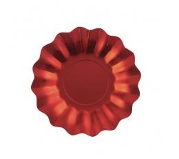 Taldrikud - lilled, punane läikiv (8 tk. / 27 cm)