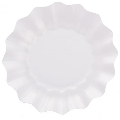 Taldrikud-lilled, valge pärlmutter (8 tk / 27 cm)