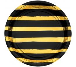 Taldrikud, must-kuldse triibulised (8 tk / 22 cm)