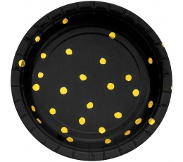 Taldrikud, mustad kuldsete täppidega (8 tk / 18 cm)