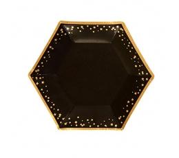 Taldrikud - mustad kuldtähtedega (8 tk)