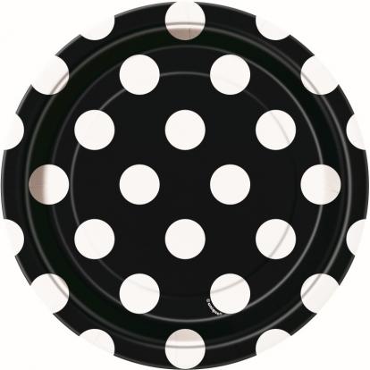 Taldrikud, mustad täpilised (8 vnt./18 cm)