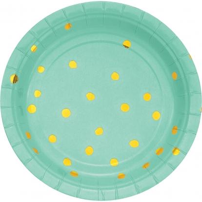 Taldrikud, piparmünt kuldsete täppidega (8 tk / 18 cm)