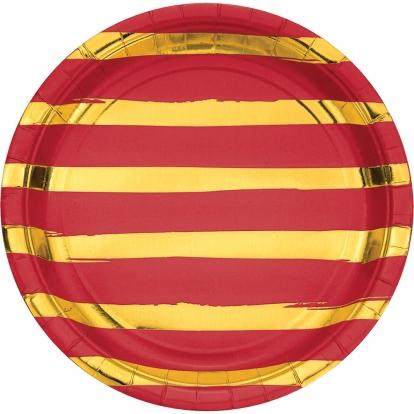 Taldrikud, punase- kuldse triibulised (8 tk / 22 cm)