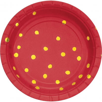 Taldrikud, punased-kuldsete täppidega (8 tk / 18 cm)